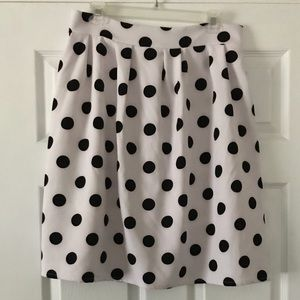 Vintage High Waist Polka Dot Pleated Midi Skirt